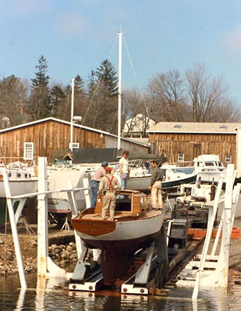 launching Tethys at the boatyard