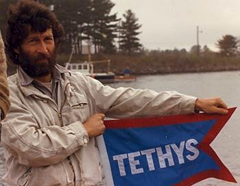 tethys flag held by Michael Millard