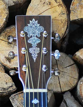Froggy Bottom headstock with Glenn Carson engraved MOP